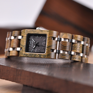 Image 4 - BOBO BIRD montre femme Wooden Womens Watches Top Fashion Square Dial Watch Collection for Ladies Stainless Steel Wristwatch S03