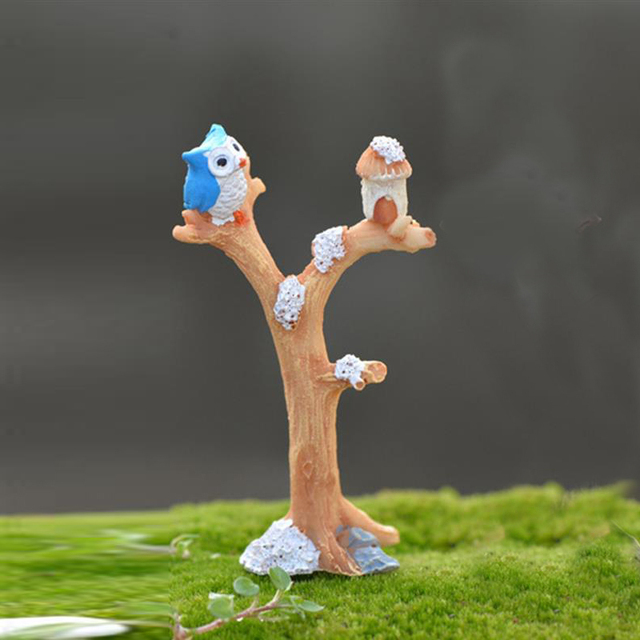 2pcs/lot Cute Owl Tree Miniature Garden Decoration Vintage Cartoon Animals Figurines Fairy Modern Home Decorations Accessories 3