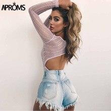 Aproms Deep V neck Lace Mesh Crochet Bodysuit Women Slim Fit Romper Jumpsuit Sexy High Street Bodysuits Tops for Women Clothing