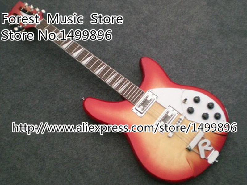 Top Quality Cherry Sunburst Ricken 360 Solid Body Electrics Guitarra with 12 strings Left Handed Custom Available цена