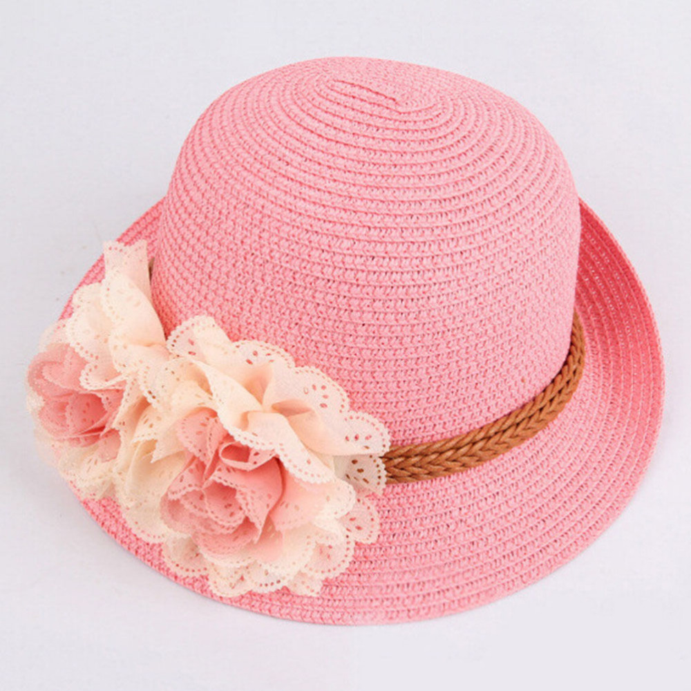 6093b0c91d3 Summer Hats for Kid Children Flower Straw Hat Baby Girls Beach Hats kids Sun  Hat Girl Beach Cap for 2 7Y Wide Brim Floppy Panama-in Hats   Caps from  Mother ...
