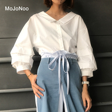 MOJONOO Autumn Spring 2017 Ladies White Blouses Cotton Long Sleeve High Quality Women's Tops And Blouses Shirt Office Work Wear