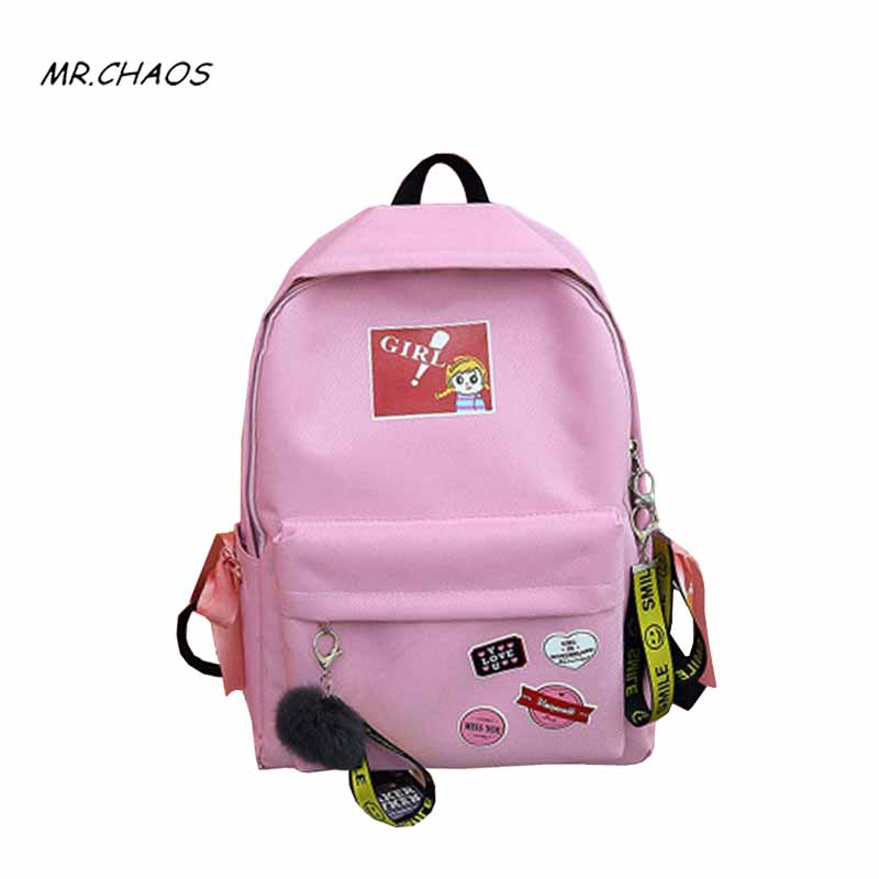 Preppy Style Canvas women Backpack for Girl Printing School Bag Large Capacity women Back pack Fashion schoolbag Joker contracte