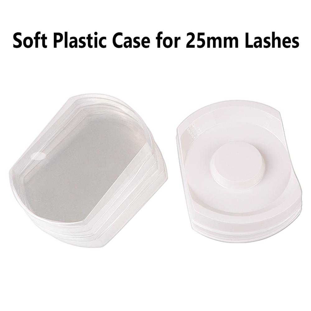 100 pieces lot Professional 25mm Lash Case Soft Plastic White Tray and Clear Cover for 3D