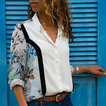 Women Blouses 2018 Fashion Long Sleeve Turn Down Collar Office Shirt Chiffon Blouse Shirt Casual Tops Plus Size Blusas Femininas(China)
