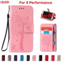 LELOZI Tree Cat Butterfly PU Leather Book Wallet Case For Sony Xperia X Performance Coffee Pink