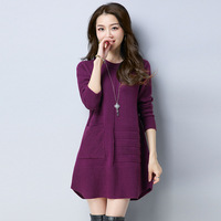 6 Colors Women Long Sweater With Pockets Fashion All Match Long Sleeve Round Collar Thread Splicing