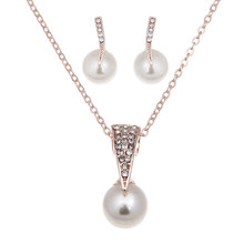 Hot Fashion Wholesale Alloy Crystal Simulation Pearl Pendant Necklace Stud Earrings Jewelry Set for Women Bride Wedding Bijoux(China)