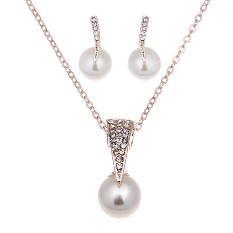 Hot Fashion Wholesale Alloy Crystal Simulation Pearl Pendant Necklace Stud Earrings Jewelry Set for Women Bride Wedding Bijoux