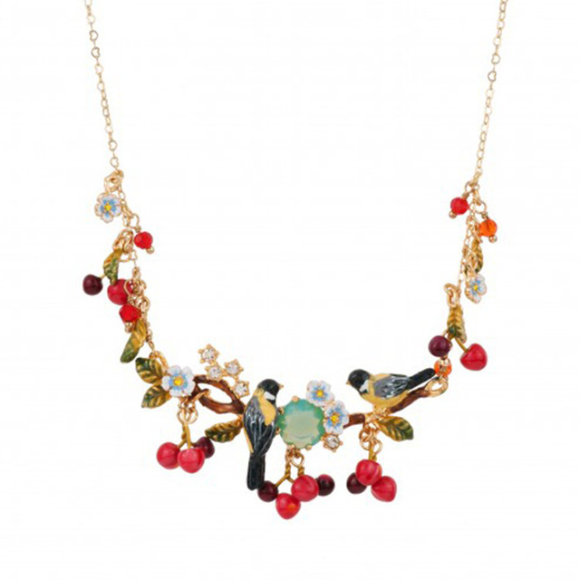 2016 New Arrivals Oriole Bird Red Cherry Birdie Gold plated Clavicle Chain popular Necklace Women Crystal Jewelry Free Shipping