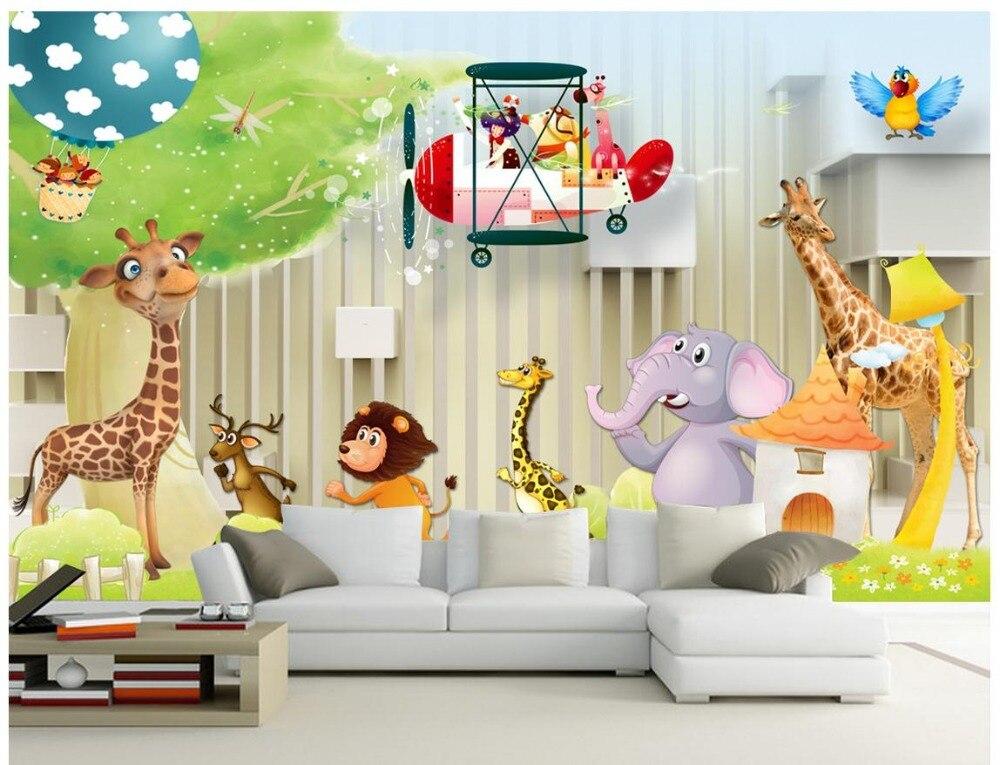 Benutzerdefinierte 3d Wallpaper Für Wände 3 D Wandmalereien Cartoon Tapete  Animals Wand Kinder Spielplatz Kinderzimmer Haus