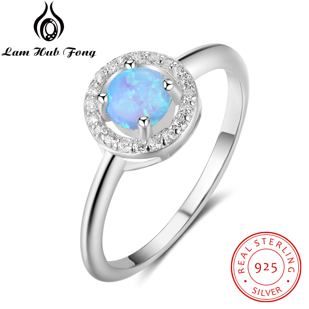 Genuine 925 Sterling Silver Ring Created Round Blue Opal Stone For Women Fine Jewelry Wedding Anniversary Gift  (Lam Hub Fong)