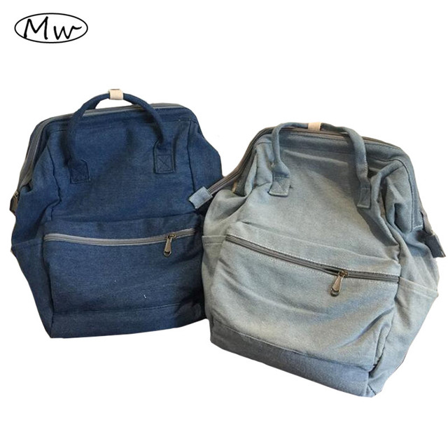 New Fashion Women Tote Denim Backpack School Bags For Teenager Girls Large Capacity Students Shoulder Bag Notebook Bag Rucksack