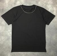 High New Novelty 19ss Men Metal rivet collar T Shirts T Shirt Hip Hop Skateboard Street Cotton T Shirts Tee Top kenye #655