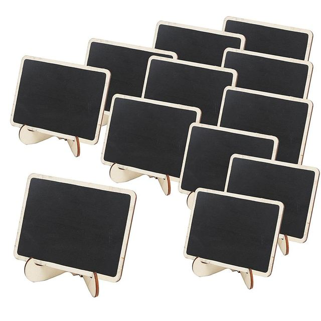Mini Wooden Framed Table Number Chalkboard Signs with Stand, Pack of ...