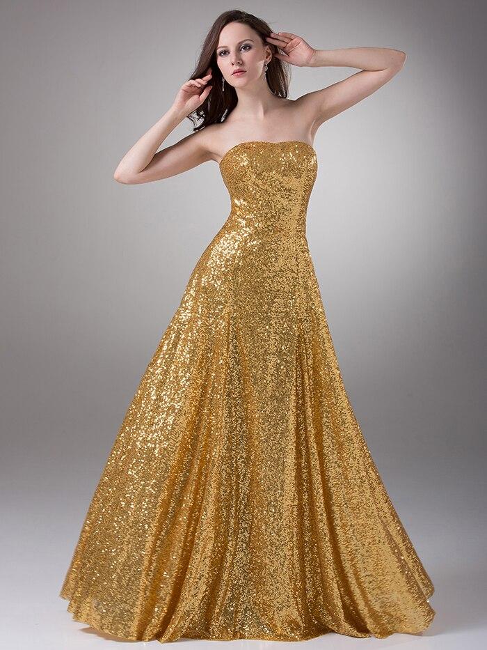 Aliexpress.com : Buy Gold Sequins Sweetheart Long Formal Evening ...
