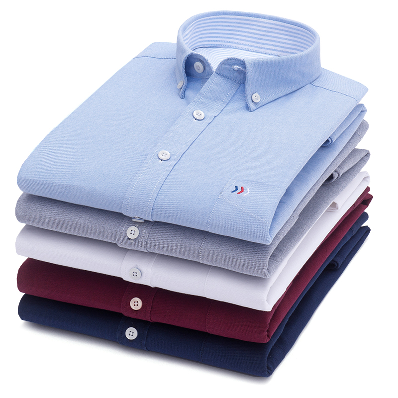 LANGMENG 100% Cotton Solid Color Mens Long Sleeve Dress Shirt Men Striped Oxford Shirt High Quality Slim Fit Brand Casual Shirts