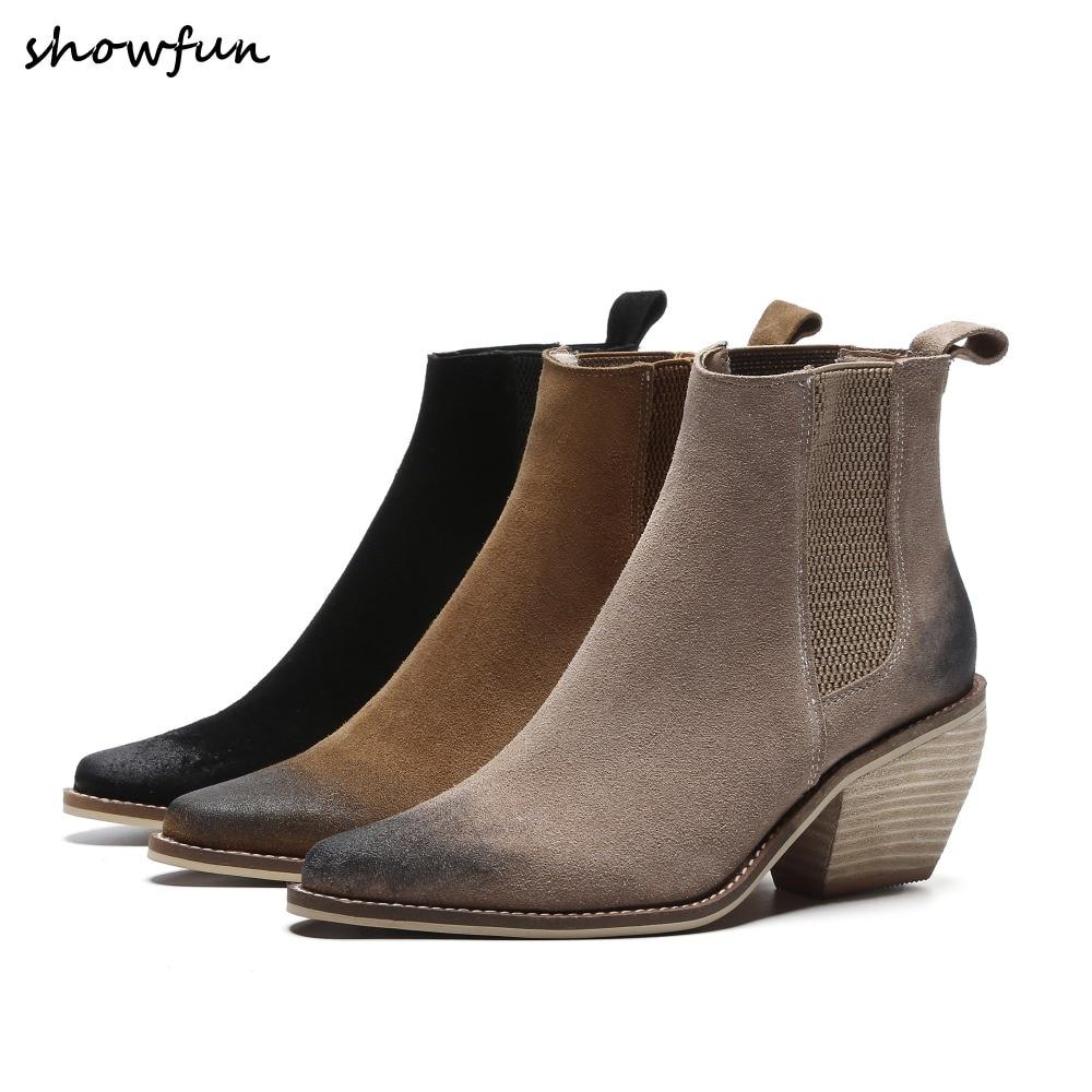 цены Women's Genuine Suede Leather Slip-on Autumn Short Ankle Boots Brand Designer Pointed Toe Gradient Color Med Heel Comfort Shoes