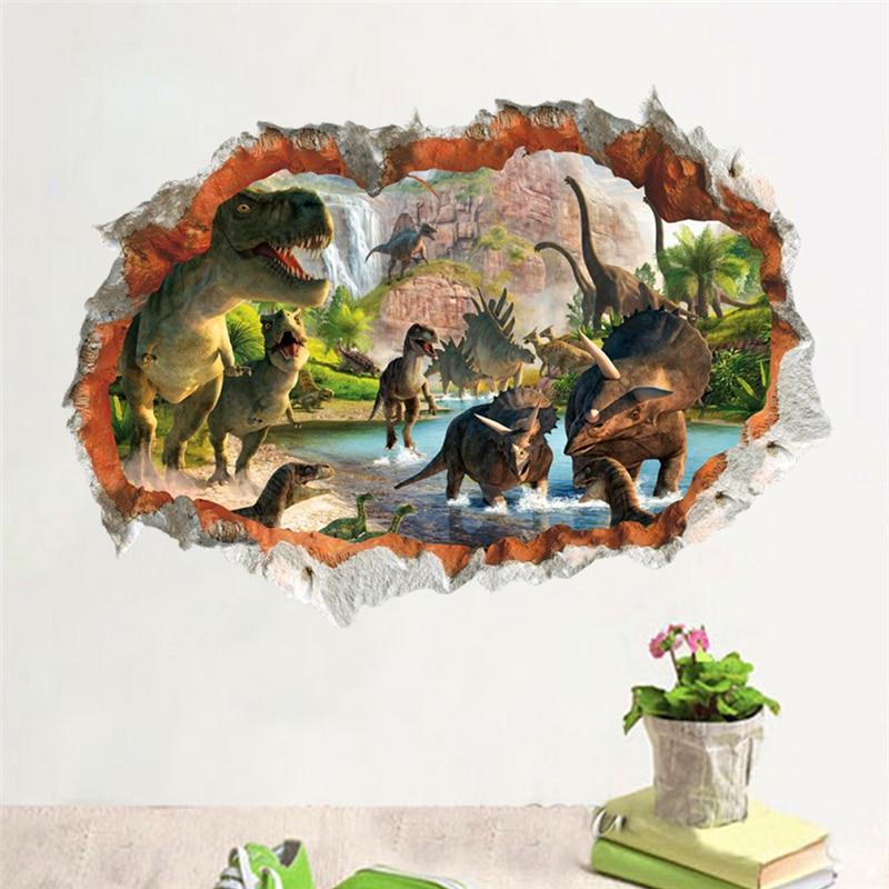 3D էֆեկտ դինոզավրային աշխարհը պատի - Տնային դեկոր - Լուսանկար 2