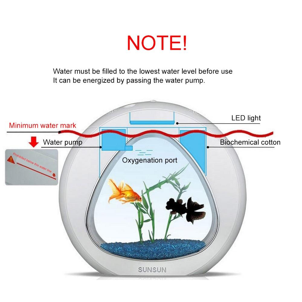 Aquarium réservoir de poissons Nano Table Top écologie réservoir de poissons Sunsun écologie Aquarium avec filtre intégré et lumière LED 6L 110-220V 50Hz - 4