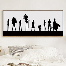Modern Simple Black and White Animation One Piece Long Banner A4 Canvas Painting Art Poster Child Bedroom Picture Wall Decoratio