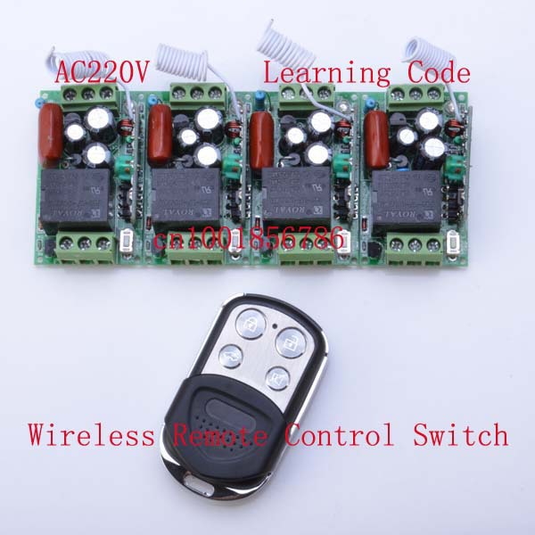 220V 1CH 10A RF Wireless Remote Control Power Switch System ;4 Receivers+1 Transmitter Duplicating Copied Cloning Remote Control 220v wireless remote control switch system rf 4 receivers 3transmitter for led light lamp freeshipping