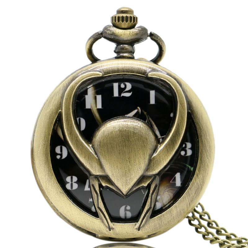 Retro Vintage Hollow Out The Avengers Loki Pendant Necklace Chain Women Men Quartz Pocket Watch Best Gift