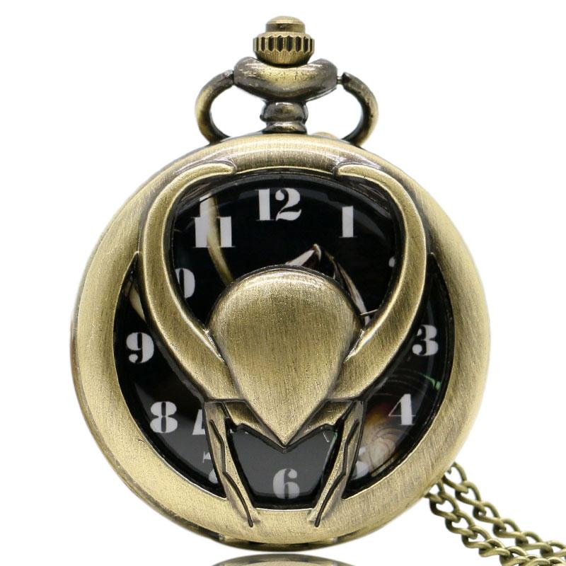 Retro Vintage Hollow Out The Avengers Loki Pendant Necklace Chain Women Men Quartz Pocket Watch Best Gift