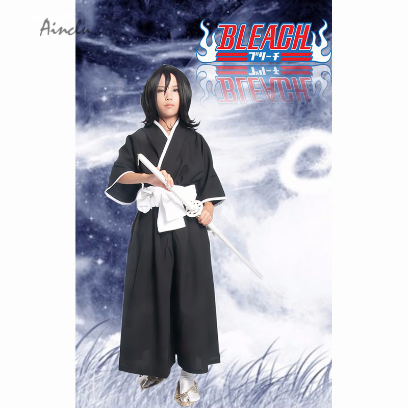Ainclu Free Shipping Bleach Gotei Thirteen Kuchiki Rukia Black Soul Reaper Kimono Anime Adult Cosplay Costume