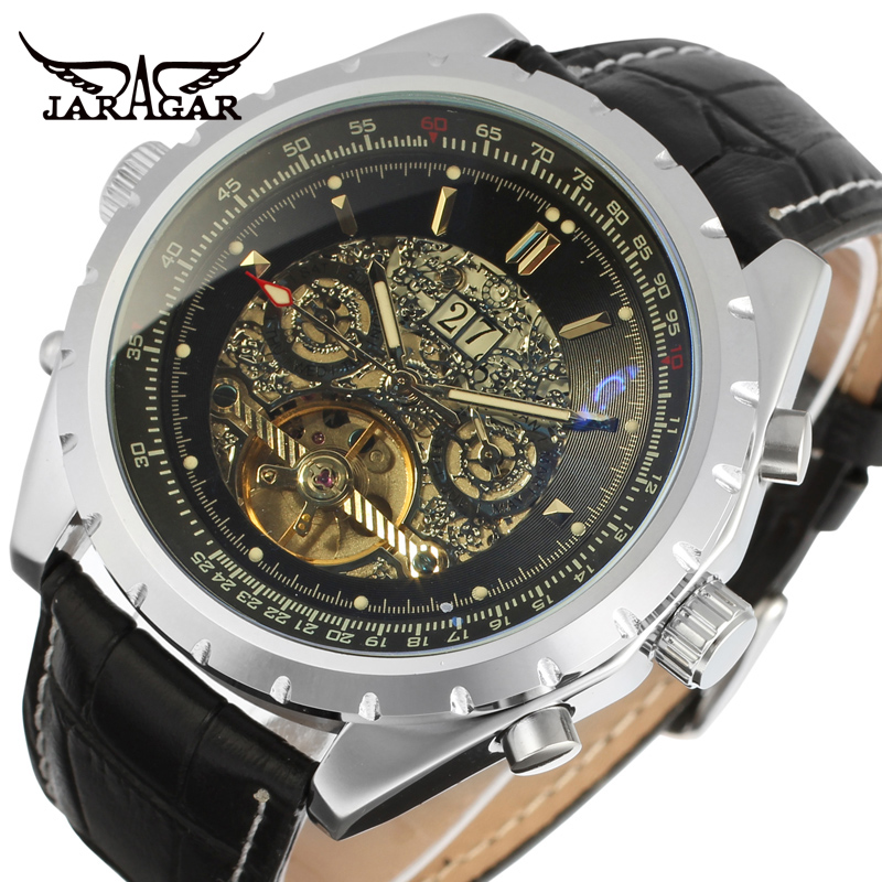 JARAGAR Men Luxury Brand Watch Black Rubber Sport Tourbillion Automatic Mechanical Wristwatch Gift Box Relogio Releges 2016 New jaragar men luxury watch stainless steel tourbillion automatic mechanical wristwatch relogio releges