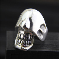 Pure Silver 925 Sterling Thai Silver Vintage Open Size Adjustable Ring men's Jewelry Skeleton Skull Male Finger S925 Ring