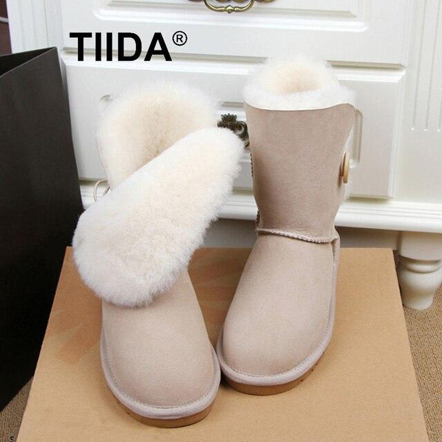 TIIDA Бесплатная доставка Высокое Качество женская Подлинная кожа овчины Снега Сапоги 100% натуральный мех снегоступы Теплые Зимние Сапоги