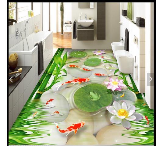 3d papier peint personnalisé 3d plancher peinture papier peint mural Hd poisson rouge cailloux grenouille 3d étage bambou lotus feuille chambre photo wallpaer