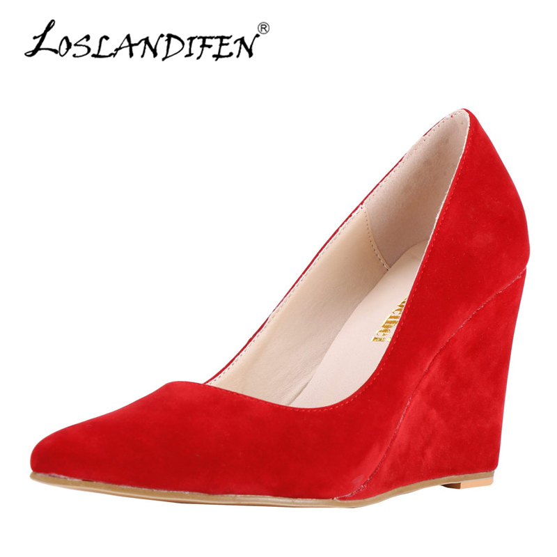 LOSLANDIFEN Wedges Women Pumps Flock Pointed Toe High Heels Shoes Sexy Bride Party Slip on Casual Shoes Black Woman Pumps Office apoepo 2018 newest woman stilettos pumps sexy pointed toe slip on dress heels office lady thin heels shoes bling party shoes