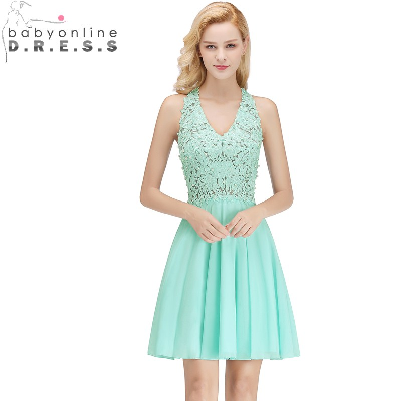 Us 3759 53 Offelegant Cut Out Back Lace Short Evening Dress V Neck Sleeveless Appliques Pearls Evening Gown Robe De Soiree Courte In Evening