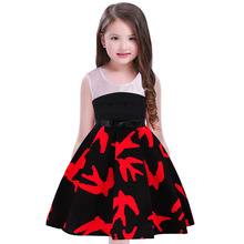 Vestidos Girls Party dress 2018 Kids clothes Printed dovetail girl onepiece Black and white splicing Dresses