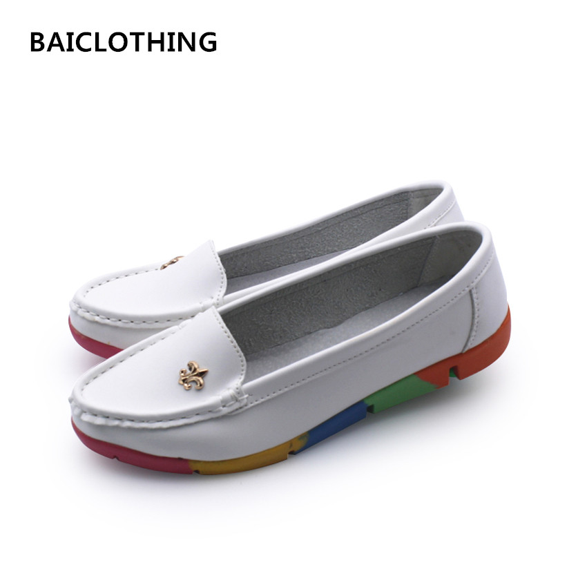 BAICLOTHING women cute white flat shoes female soft and comfortable casual flats zapatos planos lady cute plus size spring shoes sgesvier comfortable senior leather fabrics simple and easy red green and four color yellow women flat shoes size 34 41 xt21