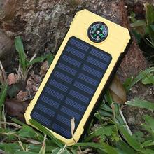 2000mAh Solar Power Bank Portable Compass Flashlight Solar Power Bank USB External Battery Outdoor Emergency Charger For iPhone