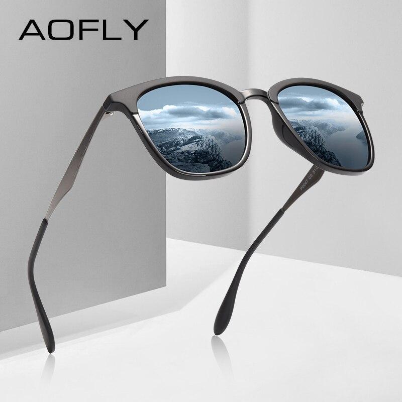AOFLY diseño de marca de los hombres de las mujeres Gafas de sol polarizadas Vintage Gafas de sol de conducción de aleación de templo Gafas de sol Masculino AF8120