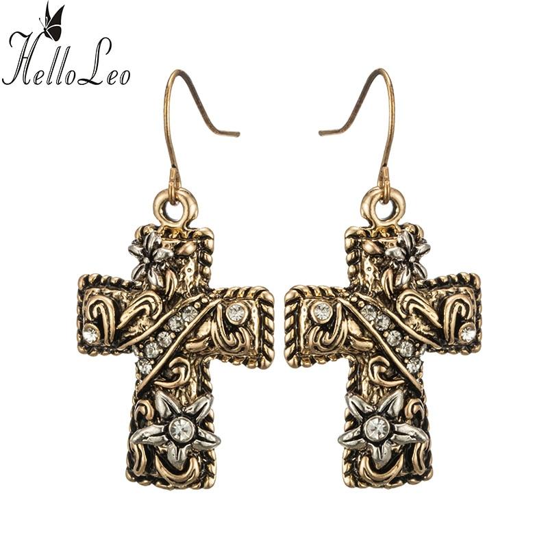 2017 Vintage Big Cross !! Flower brilliant Drop Earrings for Women Tassel Peandant Jewelry Punk Beads Earring Jewelry Gifts