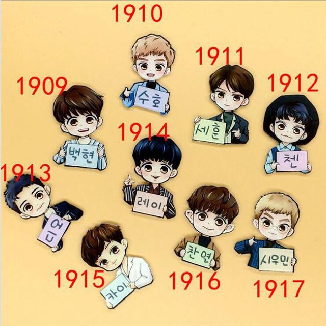 1 PC Acrylic Brooches Cartoon Korean EXO Cute Kris Lay Backpack Student Clothes Pins