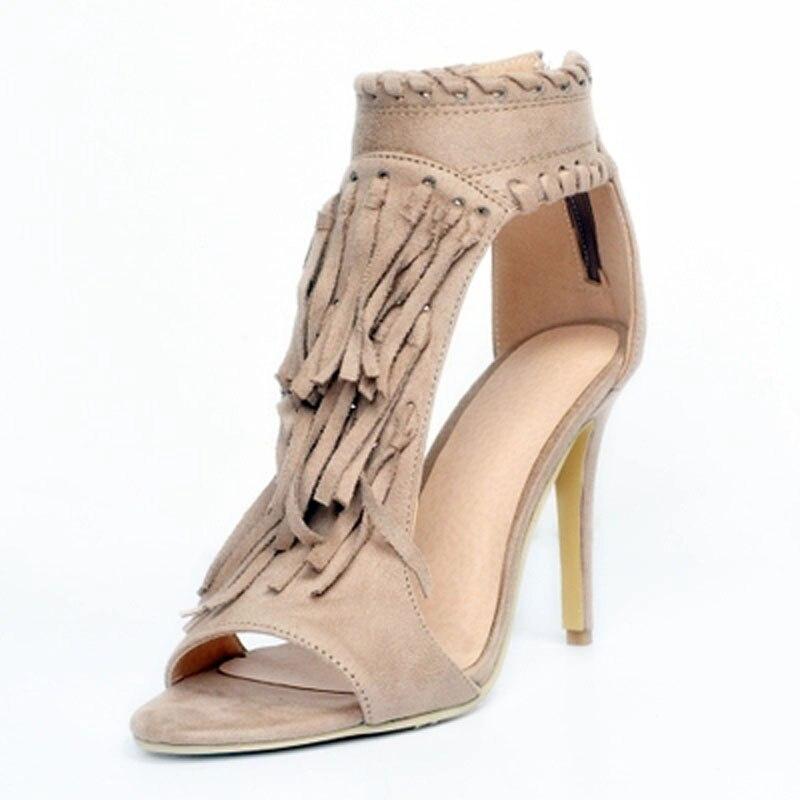 Sandales Stiletto Peep Haut Dames Bottes Couvert Cheville Sandale Talons Longue Chaussons Chaussures Apricot Robe Toe Frange Zip Sexy black D'été Bottines 0Ovpwf