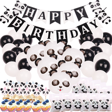51pcs Happy Birthday Panda Banner/Balloon/Cupcake Toppers Mylar Foil Balloon For Party Decorations Kids/Adult Gift Bags