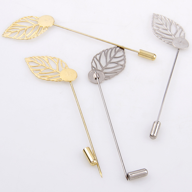 DIY lapel flower accessories supply silver gold color long stick pin leaves,pearl pins
