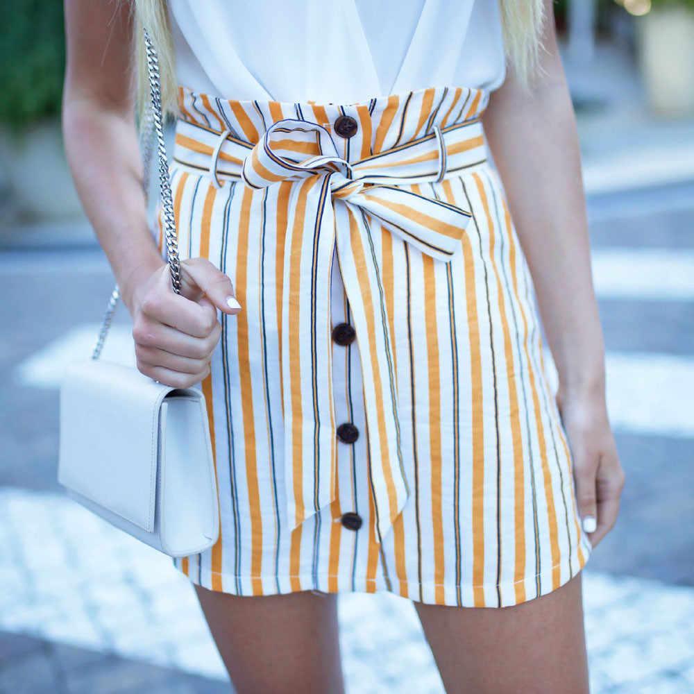 0a7a316b759 Девушка мини-юбка Кнопка Высокая Талия Короткие Полосатые Kawaii желтая юбка  корейский стиль летние юбки