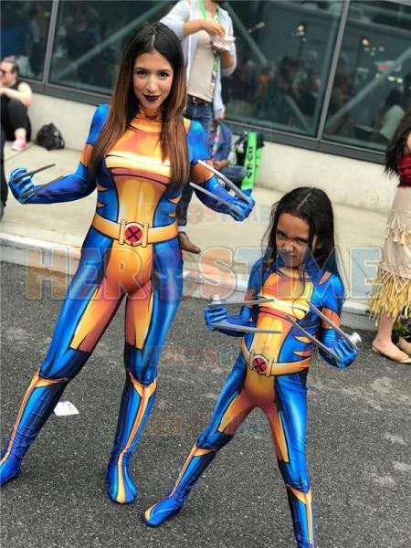 X-23 Laura Kinney X-men Cosplay Costume 3D Print Spandex Zentai Bodysuit Halloween Costume Jumpsuit for Adult/Kids Freeshipping