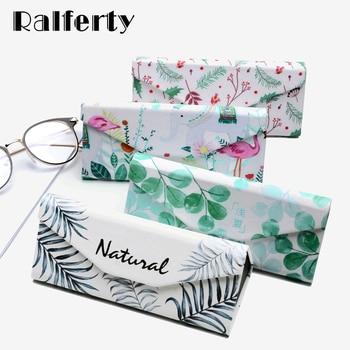 Ralferty Flower Printed Sunglasses Case Women Folding Triangle Glasses Case Girl PU Leather Lightweight Eyewear Box funda gafas