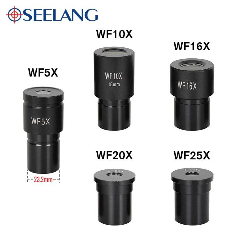OSEELANG Mikroskop Okulare WF5X WF10X WF16X WF20X WF25X Biologische Mikroskop Objektiv Weitwinkel Objektiv Monokulare Teil