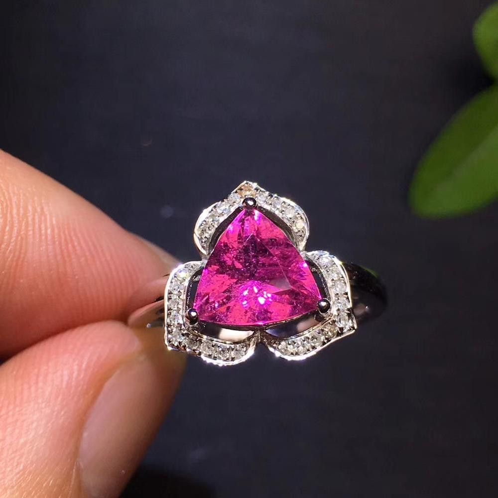 Bague Tourmaline rouge 2.2ct pur or 18 K bijou pierres précieuses Tourmaline rouge naturelle diamants bagues femelles pour femmes bague Fine