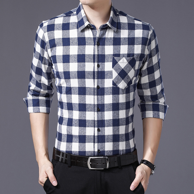 b8e2e37a4 White Black Plaid Shirt Men Long Sleeve Autumn Winter New Business Casual  Checkered Slim Fit Brushed Shirts Men Clothing 2018-in Casual Shirts from  Men's ...